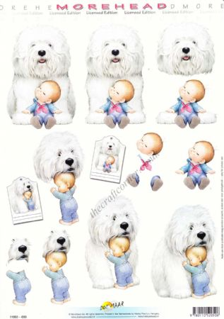 Morehead Cute Little Boy & His Shaggy Dog 3D Decoupage Craft Sheet